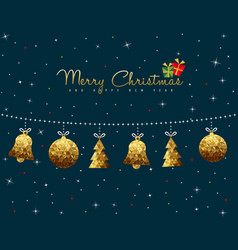 Christmas and new year gold low poly ornament card vector