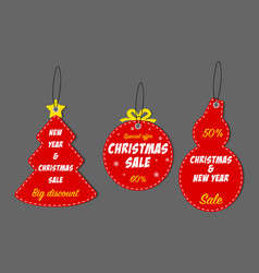 christmas and new year sale tag set vector image