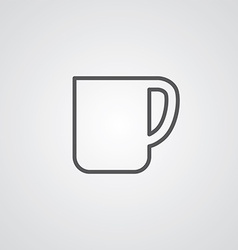 Coffee cup outline symbol dark on white background vector