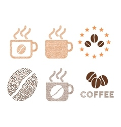 Coffee cups and logo composition with vector