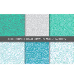 collection of hand drawn seamless patterns vector image