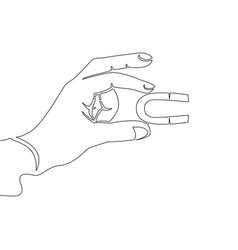 continuous one line hand holding magnet concept vector image