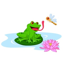 Cute cartoon frog catching dragonfly vector