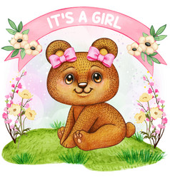 Cute watercolor bear girl baby shower vector