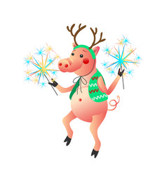Dancing pig with sparklers isolated on the white vector