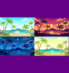 Daytime beach landscape sunny day seascape night vector