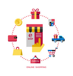 digital white online shopping vector image