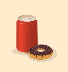 donut with soda in a tin can - cute cartoon vector image