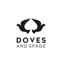 Dove pigeon spade ace poker chips game cards logo vector