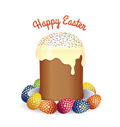 easter greeting card with easter cake and eggs vector image