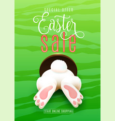 Easter sale poster with easter bunny ass foot vector