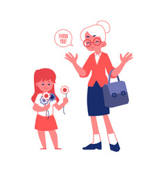 Elderly woman with good manners and polite girl vector