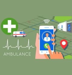 Emergency call concept ambulance car hands vector