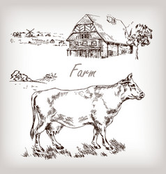 Farm set cow vector