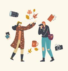 Female photographer character making autumn photo vector