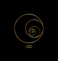 Fibonacci sequence circle golden ratio logo icon vector