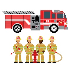 fire truck and fireman yellow 1 vector image
