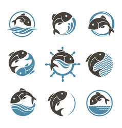 fish icon set vector image