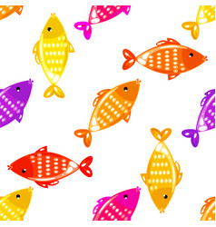 fish seamless pattern in different colors vector image