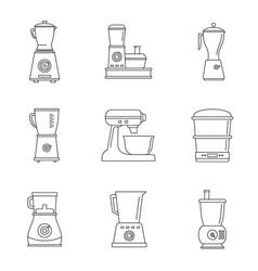 food processor blender icon set outline style vector image