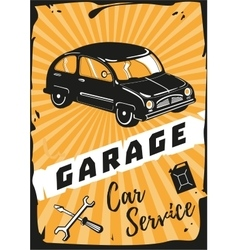 Garage Vintage poster with a retro car vector
