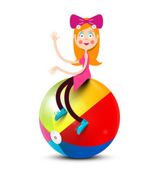 Girl sitting on colorful beach ball isolated on vector