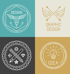 graphic designer badges and logos in trendy linear vector image