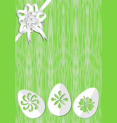 green easter background with white ribbon rosette vector image