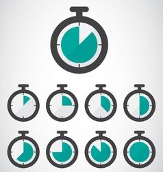 Green stopwatch icon vector