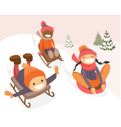 Group of multicultural kids enjoying a sleigh ride vector