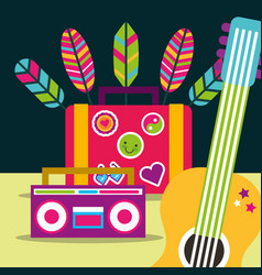 Guitar and radio suitcase feathers free spirit vector