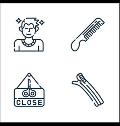 Hairdressing and barber line icons linear set vector