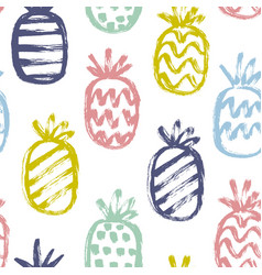 Hand drawn pineapples pattern vector