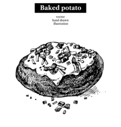 Hand drawn sketch backed potato isolated Menu vector