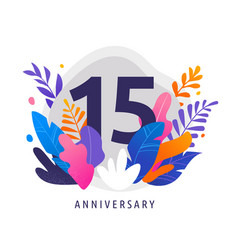 happy anniversary - fantasy leaves background vector image