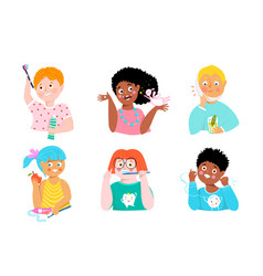 kids dental care and teeth health cute characters vector image