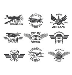 Labels design template with pictures airplanes vector