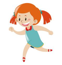 Little girl in blue dress running vector