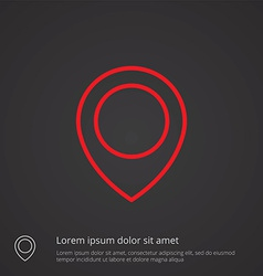 Map pin outline symbol red on dark background logo vector