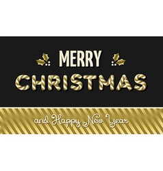 Merry christmas and new year gold text design vector