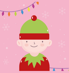 Merry christmas cute helper with lights decoration vector