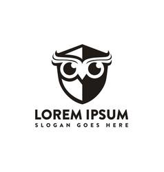 minimalist owl shield logo icon template vector image