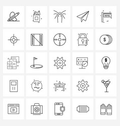 Modern line 25 simple line icons crosshairs vector
