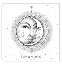 Modern magic witchcraft card with sun and moon vector