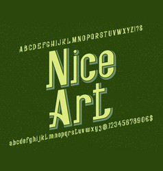 nice art typeface retro font isolated english vector image
