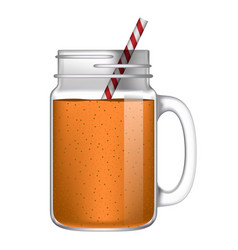 orange smoothie mockup realistic style vector image