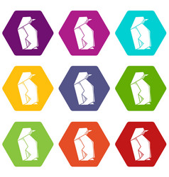 origami penguin icons set 9 vector image