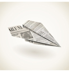 Paper airplane folded newspaper vector