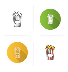 paper glass with popcorn icon vector image