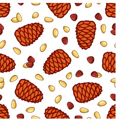 pine and seed seamless pattern vector image